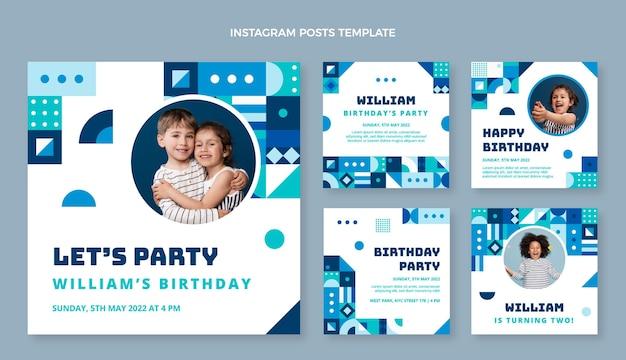 Platte ontwerp mozaïek verjaardag instagram posts