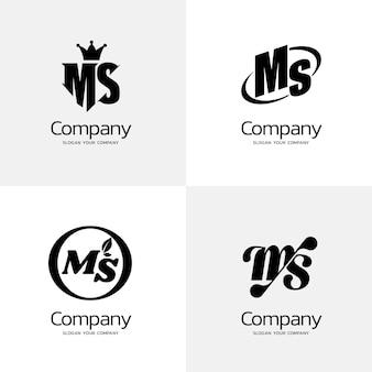 Platte ontwerp ms logo collectie