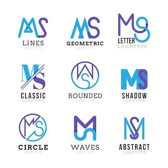 Platte ontwerp ms logo sjablonen set