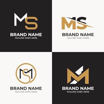 Platte ontwerp ms logo template collectie