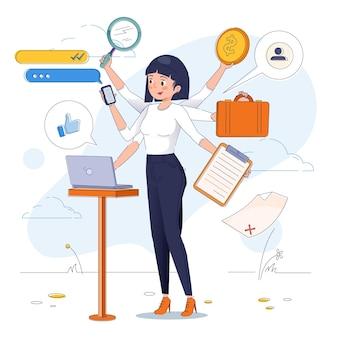 Platte ontwerp multitask zakenvrouw