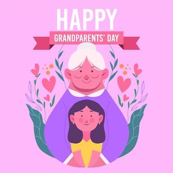 Platte ontwerp nationale grootouders dag achtergrond met grootmoeder en vrouw