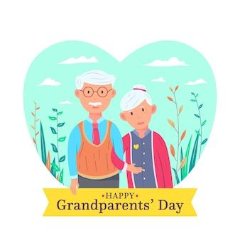 Platte ontwerp nationale grootouders dag geïllustreerd