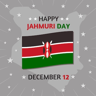Platte ontwerp nationale jamhuri-dag met vlag en sterren