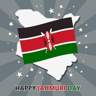 Platte ontwerp nationale jamhuri-dag met vlag