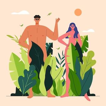 Platte ontwerp naturisme concept illustratie