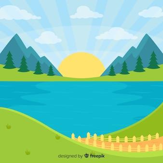 Platte ontwerp natuurlijke landschap-achtergrond