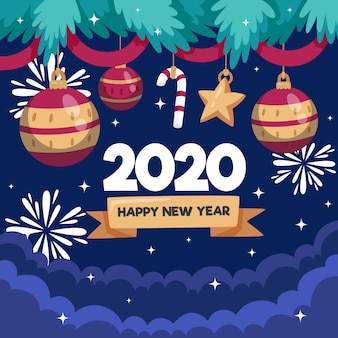 Platte ontwerp nieuw jaar 2020 achtergrond concept