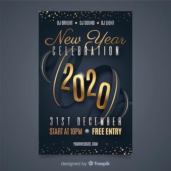 Platte ontwerp nieuw jaar 2020 partij poster sjabloon