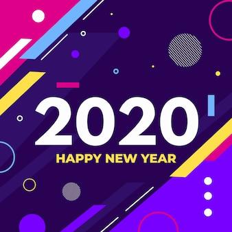Platte ontwerp nieuwe jaar 2020 achtergrond