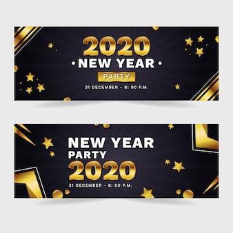 Platte ontwerp nieuwe jaar 2020 partij banners set