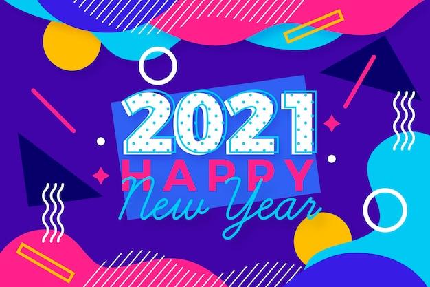 Platte ontwerp nieuwe jaar 2021 achtergrond in de stijl van memphis