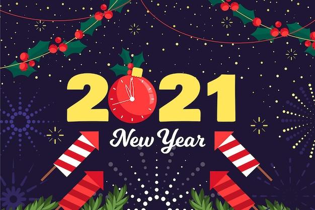 Platte ontwerp nieuwe jaar 2021 achtergrond