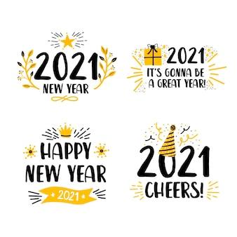 Platte ontwerp nieuwe jaar 2021-etiketten instellen