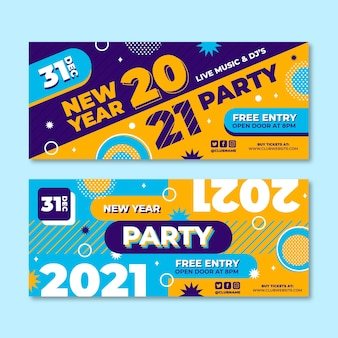 Platte ontwerp nieuwe jaar 2021 partij banners sjabloon