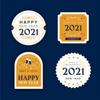 Platte ontwerp nieuwe jaar badge-collectie