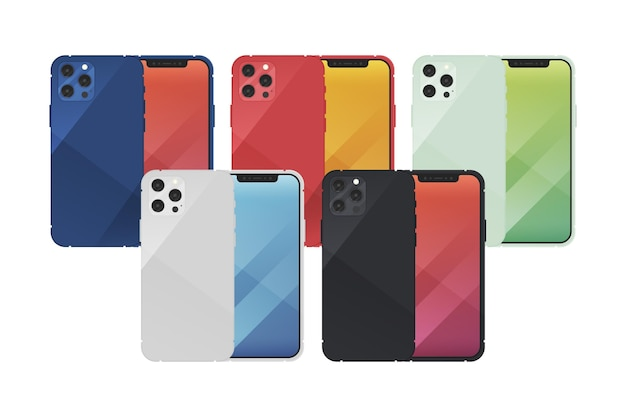 Platte ontwerp nieuwe smartphone in verschillende kleuren