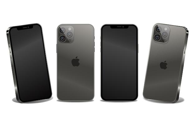 Platte ontwerp nieuwe smartphone in verschillende perspectieven
