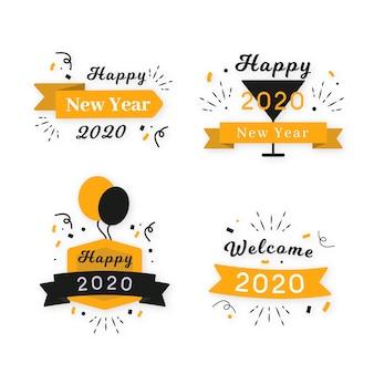 Platte ontwerp nieuwjaar 2020 badge-collectie