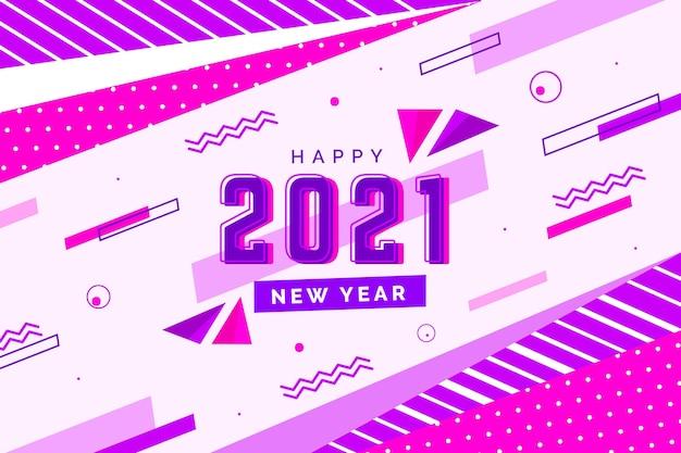 Platte ontwerp nieuwjaar 2021 achtergrond