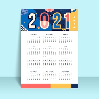 Platte ontwerp nieuwjaar 2021 kalendersjabloon