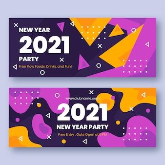 Platte ontwerp nieuwjaar 2021 partij banners sjabloon