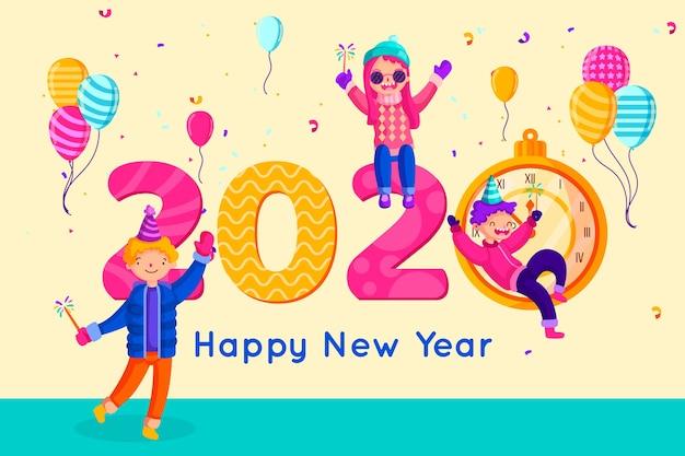 Platte ontwerp nieuwjaar achtergrond