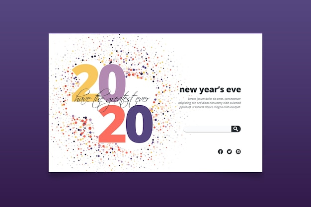 Platte ontwerp nieuwjaar bestemmingspagina sjabloon