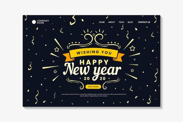 Platte ontwerp nieuwjaars bestemmingspagina