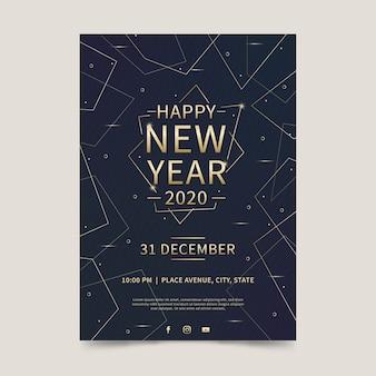 Platte ontwerp nieuwjaarsfeest 2020 sjabloon folder