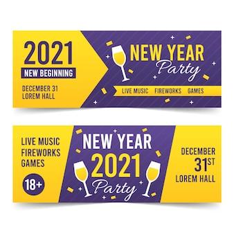 Platte ontwerp nieuwjaarsfeest banners sjabloon
