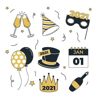 Platte ontwerp nieuwjaarsfeest element collectie