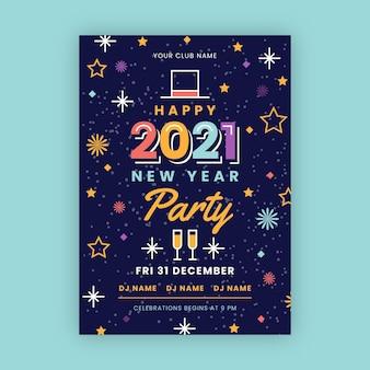 Platte ontwerp nieuwjaarsfeest poster sjabloon