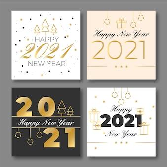 Platte ontwerp nieuwjaarskaarten 2021