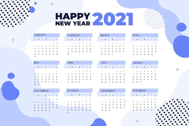 Platte ontwerp nieuwjaarskalender 2021 met gestippelde cirkels