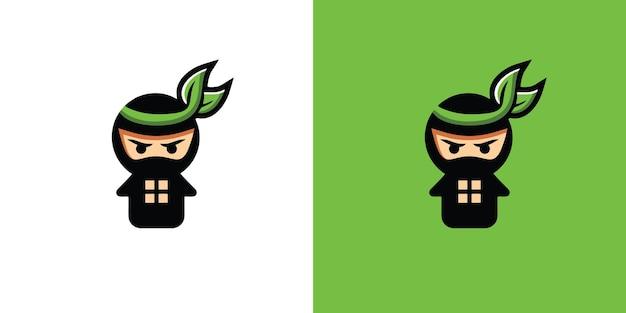 Platte ontwerp ninja logo sjabloon gratis vector