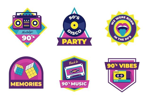 Platte ontwerp nostalgische jaren 90 badge set