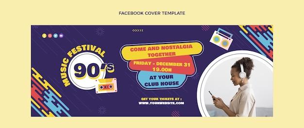Platte ontwerp nostalgische muziekfestival facebook cover