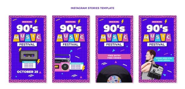 Platte ontwerp nostalgische muziekfestival instagramverhalen