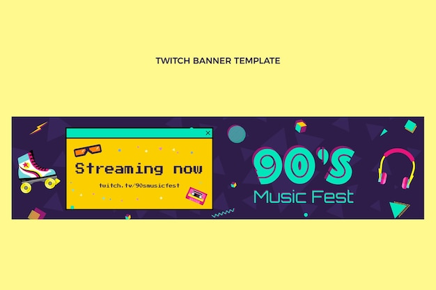 Platte ontwerp nostalgische muziekfestival twitch banner