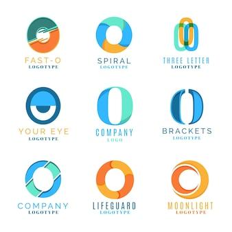 Platte ontwerp o logo templates-collectie