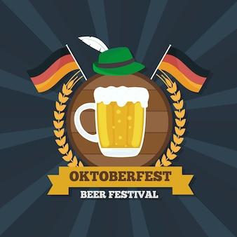 Platte ontwerp oktoberfest achtergrond met pint en vlaggen
