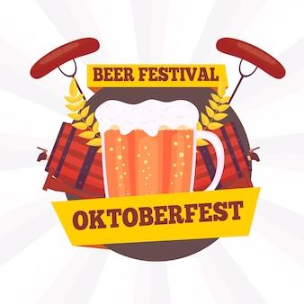 Platte ontwerp oktoberfest achtergrond met pint en worstjes