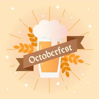Platte ontwerp oktoberfest achtergrond met pint