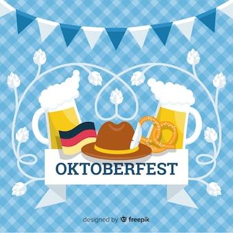 Platte ontwerp oktoberfest achtergrond