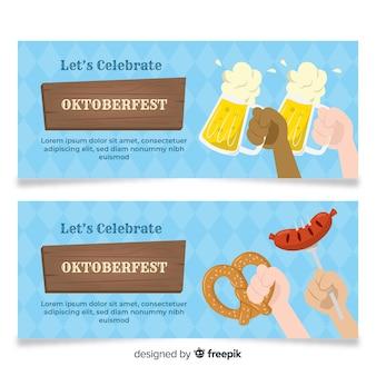 Platte ontwerp oktoberfest banner sjablonen