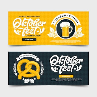 Platte ontwerp oktoberfest banners instellen