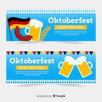 Platte ontwerp oktoberfest banners sjabloon