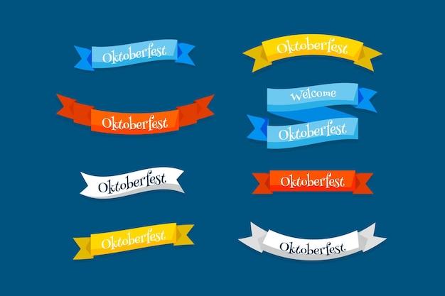 Platte ontwerp oktoberfest bierfestival kleurrijke linten