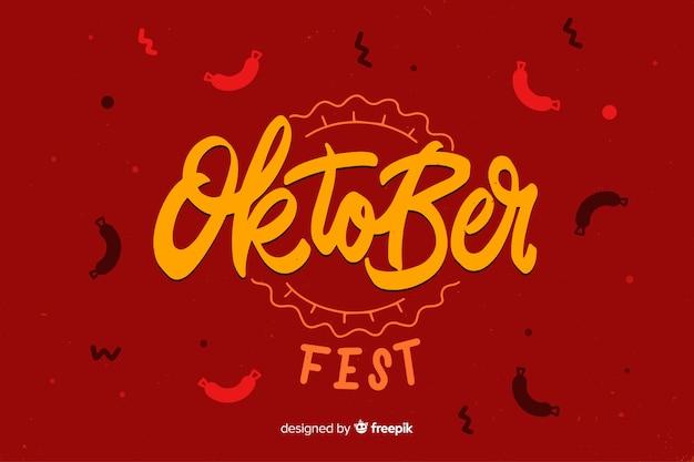 Platte ontwerp oktoberfest met worstjes